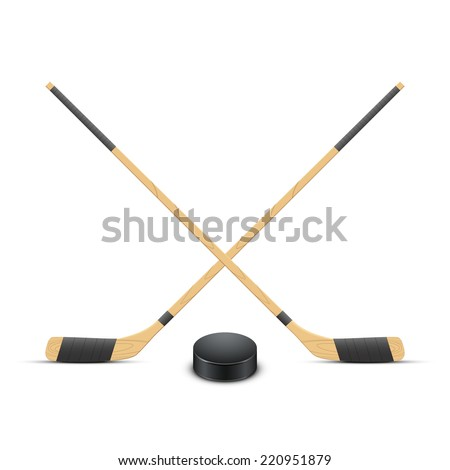 Ice Hockey puck and sticks. Sport symbol. Vector Illustration isolated on white background - stock vector