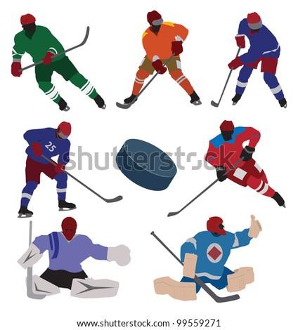 Ice hockey set. Vector - stock vector