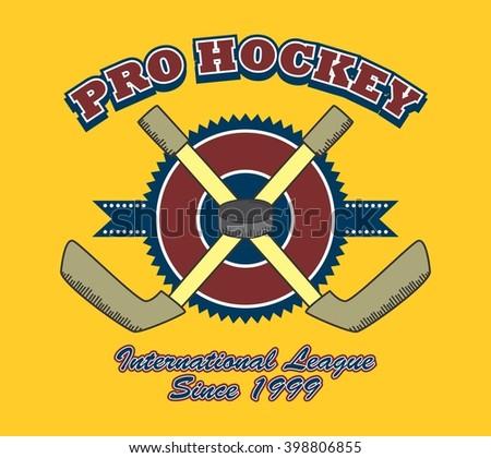 ice hockey sport doodle icon label theme - stock vector