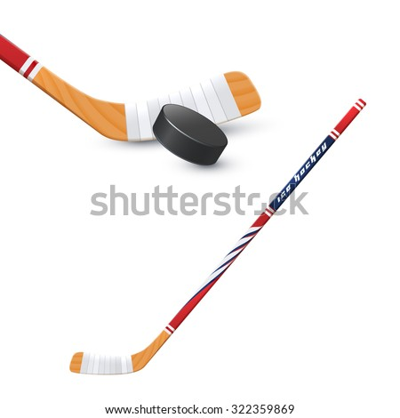 Ice hockey sport wooden stick and puck realistic vector illustration - stock vector