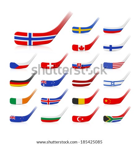 Ice hockey sticks with flags. Vector. - stock vector