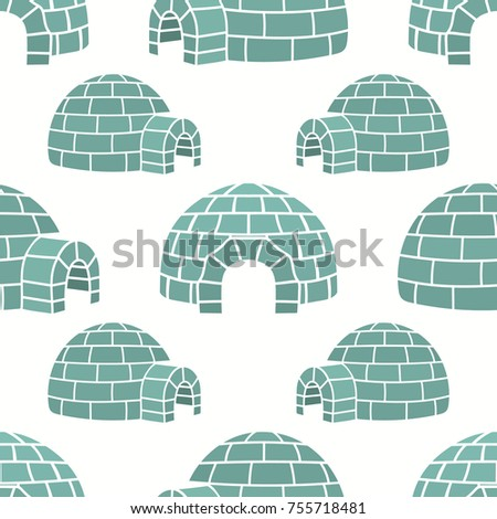 Ice house igloo vector color seamless pattern  isolated on white  House  from ice blocks. Ice House Igloo Vector Color Seamless Stock Vector 755718484
