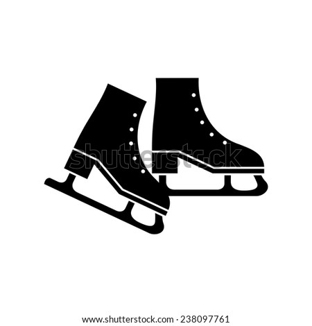 Ice skate black silhouette isolated. Vector illustration - stock vector
