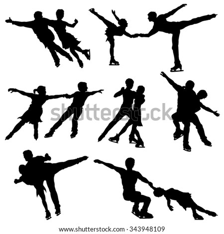 Ice Skate Dance Silhouettes - Vector Image - stock vector