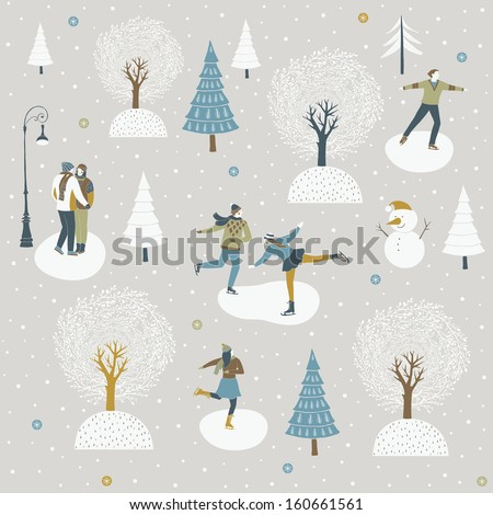 Ice skaters enjoying the winter festive season - stock vector