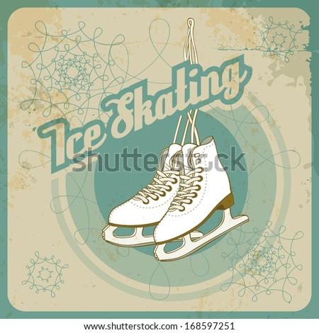 Ice skating card in retro style - stock vector