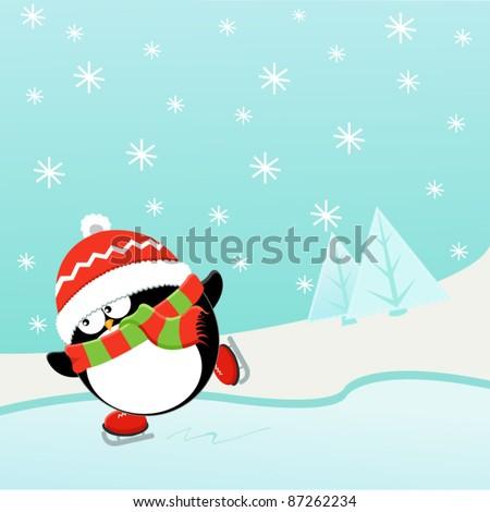Ice Skating Penguin - stock vector