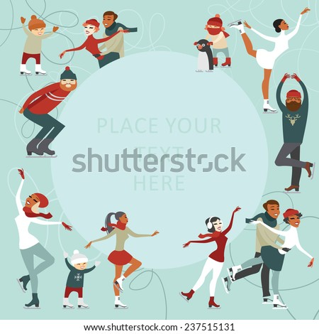 Ice skating people invitation design with copy space - stock vector