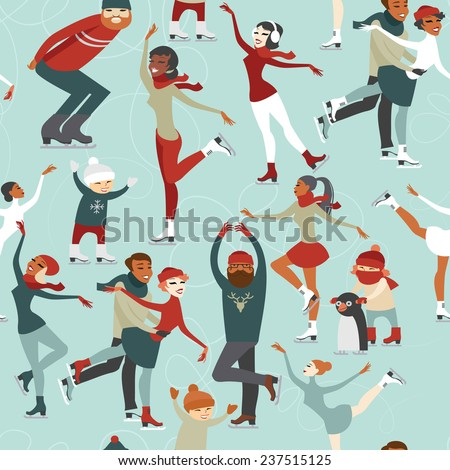 Ice skating people vector  seamless pattern - stock vector