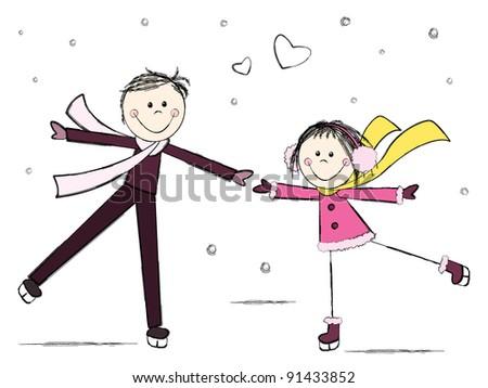 Ice skating romantic couple - stock vector