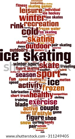 Ice skating word cloud concept. Vector illustration - stock vector