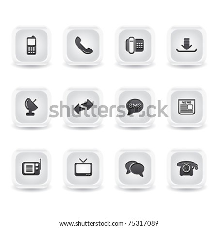 ice square communications icons - stock vector