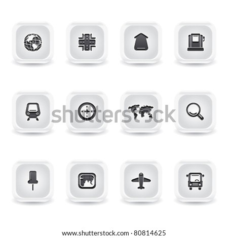 ice square gps icons - stock vector