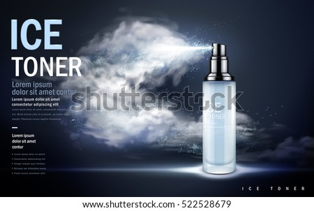 ice toner contained in light blue spray bottle, misty dark blue background, 3d illustration