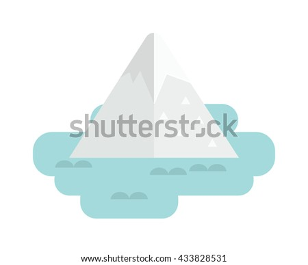 Iceberg apparently cheating, very big underwater iceberg in middle of ocean and cold underwater nature blue, landscape iceberg. Vector iceberg antarctica freeze and winter mountain melting iceberg. - stock vector