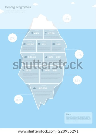 Iceberg infographic. Vector illustration  - stock vector
