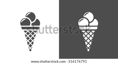 Icecream icon. Two-tone version of icecream vector icon on white and black background - stock vector
