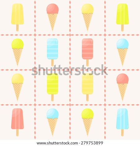 Icecreams. Set of different colors and forms ice-creams. Menu element for cafe or restaurant with sweets. Vector illustration. - stock vector