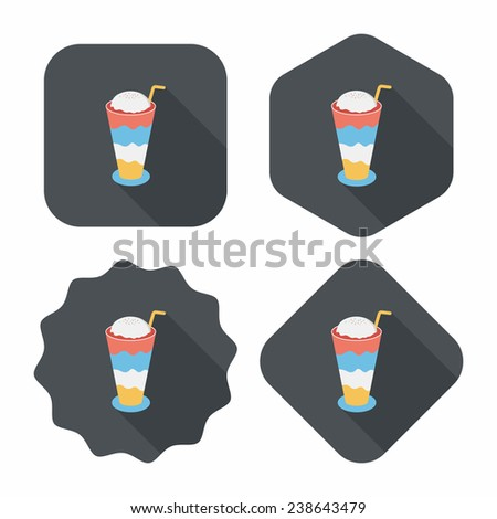 iced floating coffee flat icon with long shadow, eps10 - stock vector