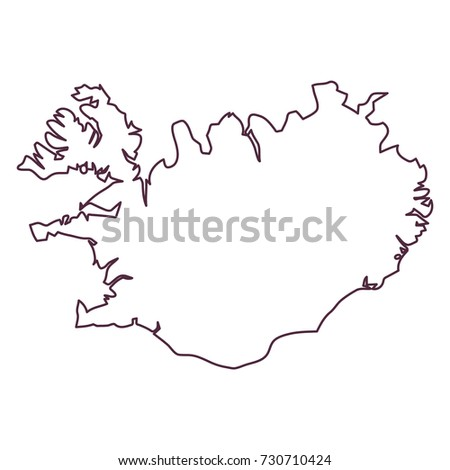 Iceland Country Map Vector Stock Vector 730710424 - Shutterstock