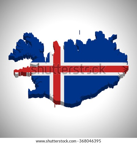 Iceland - 3D map and flag