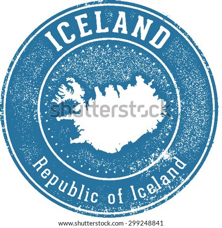 Iceland European Country Stamp - stock vector