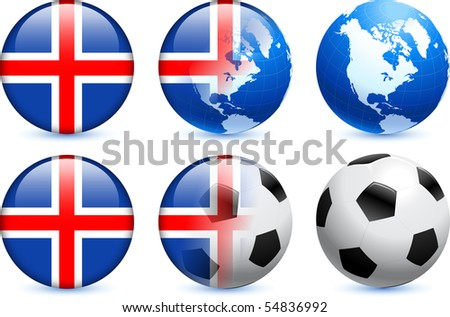 Iceland Flag Button with Global Soccer Event Original Illustration - stock vector