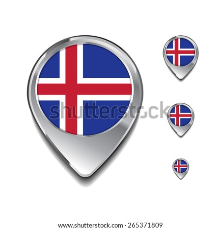 Iceland flag map pointer. 3d Map Pointer with flag glossy button style on gray background - stock vector