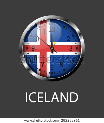 Iceland flag on clock face - vector icon