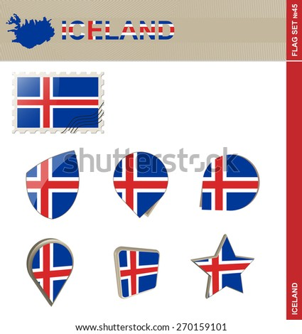 Iceland Flag Set, Flag Set #45. Vector. - stock vector