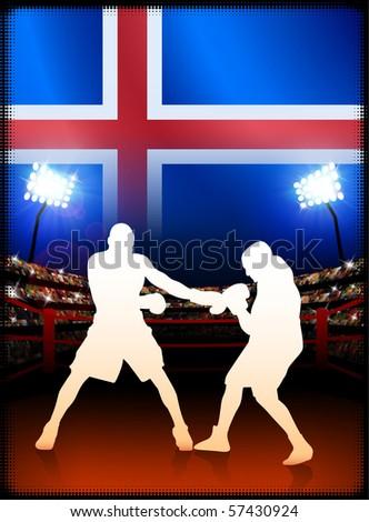 Iceland Flag with Boxer on Stadium Background Original Illustration - stock vector