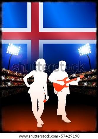 Iceland Flag with Live Music Band on Stadium Background Original Illustration - stock vector