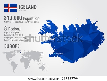 Iceland Island World Map Pixel Diamond Stock Vector (Royalty Free ...