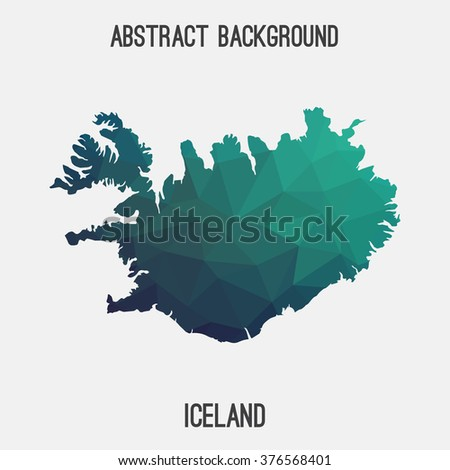 Iceland map in geometric polygonal style.Abstract tessellation,modern design background. Vector illustration EPS8
