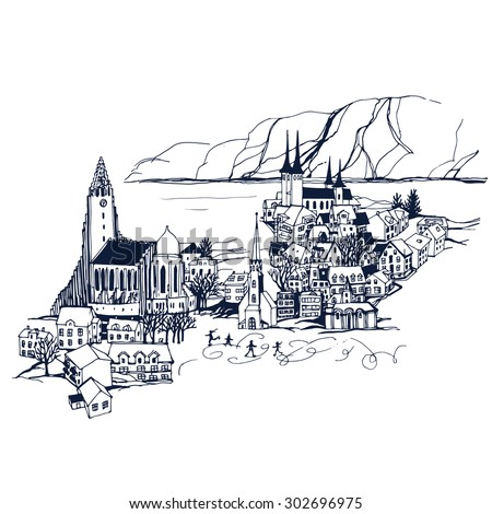 Iceland  Reykjavik City skyline. Places and Architecture around the World  - Collection of hand drawn illustrations