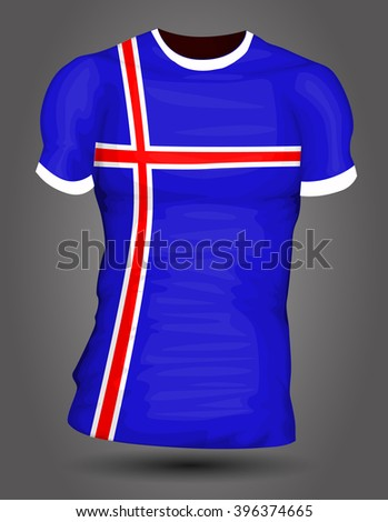 Iceland soccer jersey - stock vector