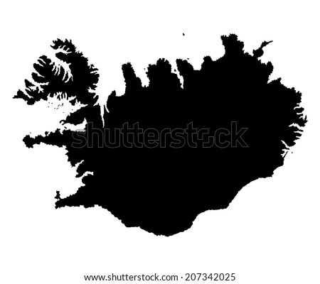 Iceland vector map isolated on white background silhouette. High detailed illustration. - stock vector