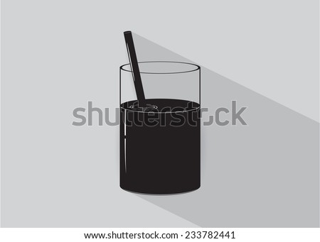 icon. A glass with drink on a gray background
