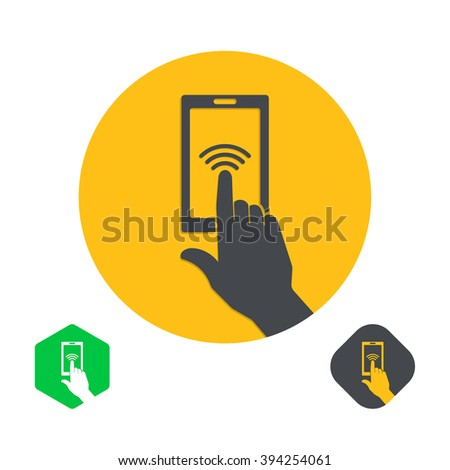 Icon a hand finger on the touch screen of phone. A vector illustration in flat style. - stock vector