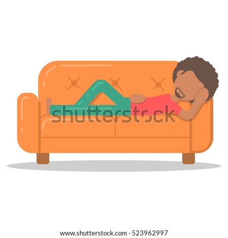 Charmant Icon Afro Man Lazy Lying On Couch In Room Flat Style. Vector Logo Character  On