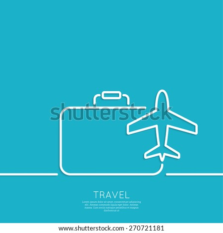 Icon airplane and suitcase. The concept of travel and vacation.  Outline. minimal. - stock vector