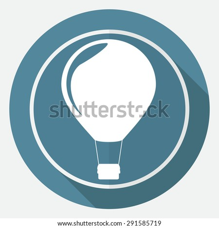 Icon airplane on white circle with a long shadow - stock vector