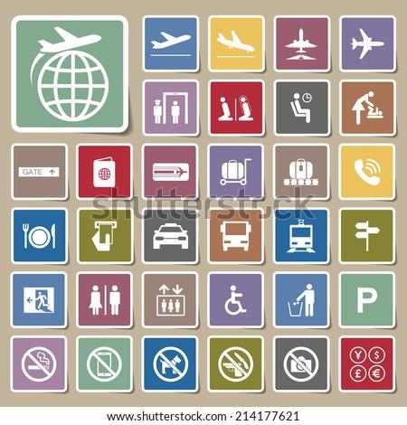 Icon Airport set - stock vector