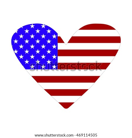 Icon American flag in the form of heart. Vector illustration
