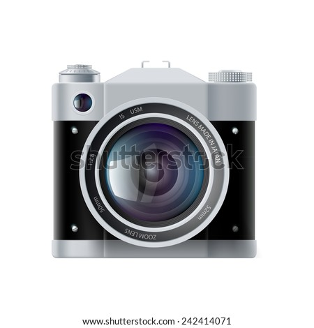 icon analog film camera isolated on white background - stock vector
