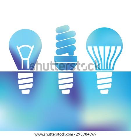 icon and symbol  - LED bulbs - Light bulbs - fluorescent light bulb - Flat design - vector graphics - stock vector