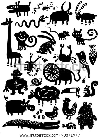 icon animal set - stock vector