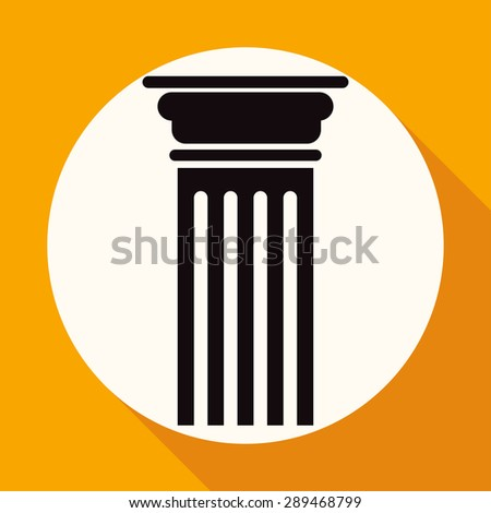 Icon Antique Column on white circle with a long shadow - stock vector