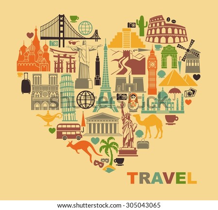 Icon architectural monuments of the world in the shape of a heart - stock vector