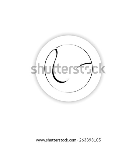 icon ball tennis  on a white background with shadow - stock vector